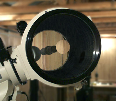 View of Astro-Physics 10 Inch Telescope from front (25934 bytes)