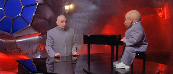 Dr. Evil and Mini-Me at their Pianos