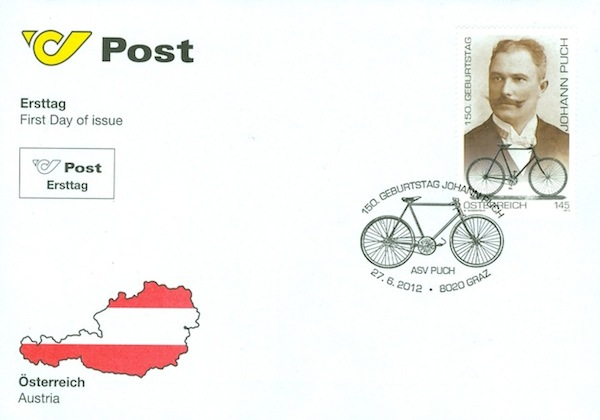 Austrian postage stamp commemorating Puch's 150th birthday on First Day Of Release postcard