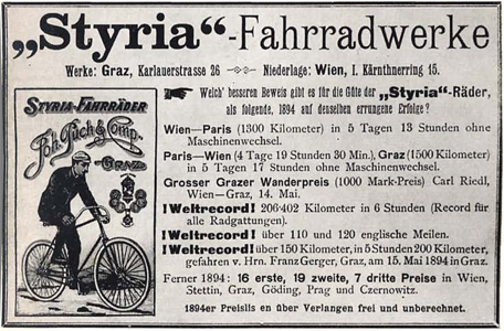 Puch advertisement from 1894 (102,092 bytes)