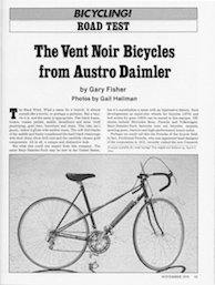 Bicycle Magazine article title page