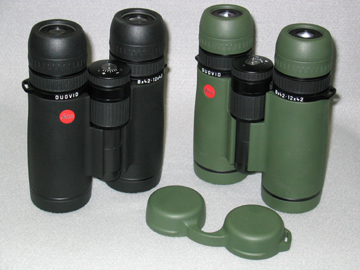 Leica Duovid 8 +12 x 42 binocular in Slate and Green, Eyecup shown in forefront (79,531 bytes)
