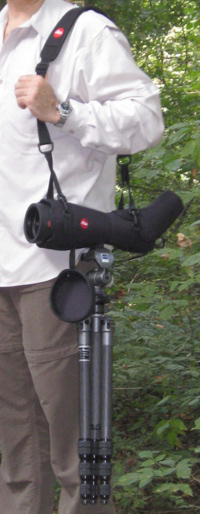Carrying a Leica Apo-TELEVID 82 telescope in Ever Ready Case Horizontal (54,229 bytes)