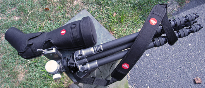 Carrying a Leica Apo-TELEVID 82 telescope in Ever Ready Case by Tripod (185,609 bytes)