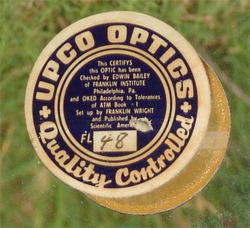 UPCO OPTICS label on Criterion Dynascope RV-6 mirror