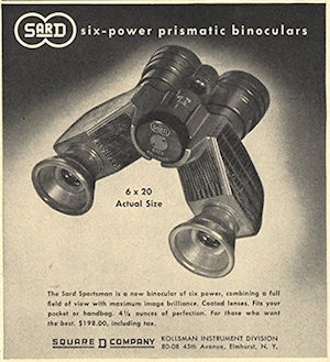 Kollsman Instrument SARD Sportsman 6x 20 binocular advertised in 18 December 1948 issue of The New Yorker Magazine (149,413 bytes)