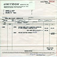 Unitron Model 142 Sales Invoice, 20 May 1975 (14,015 bytes)