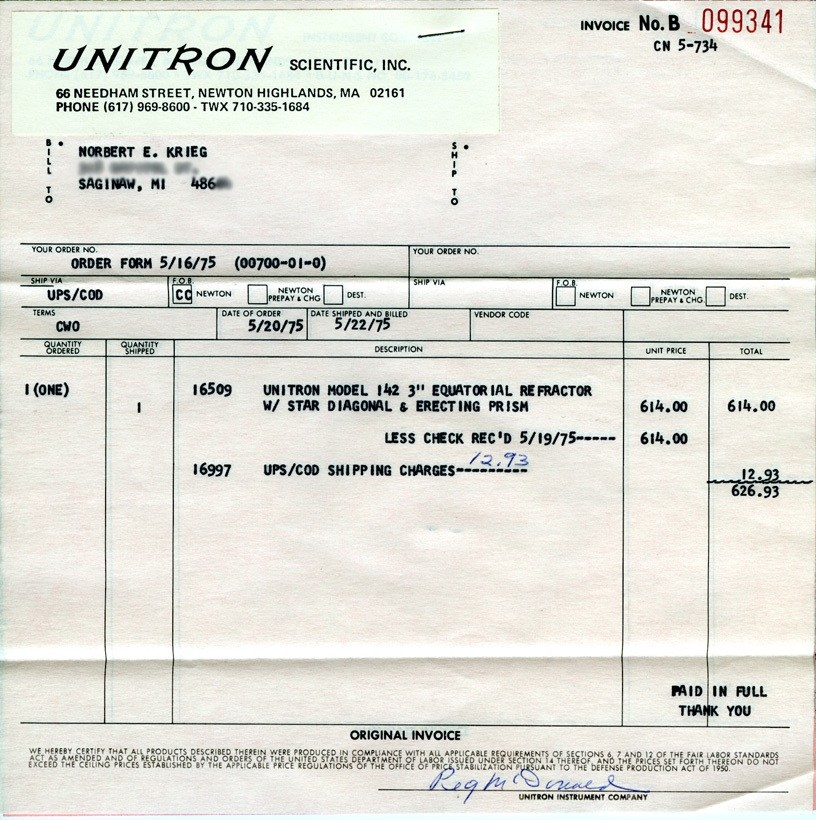 Unitron Model 142 Sales Invoice, 20 May 1975 (189,032 bytes)