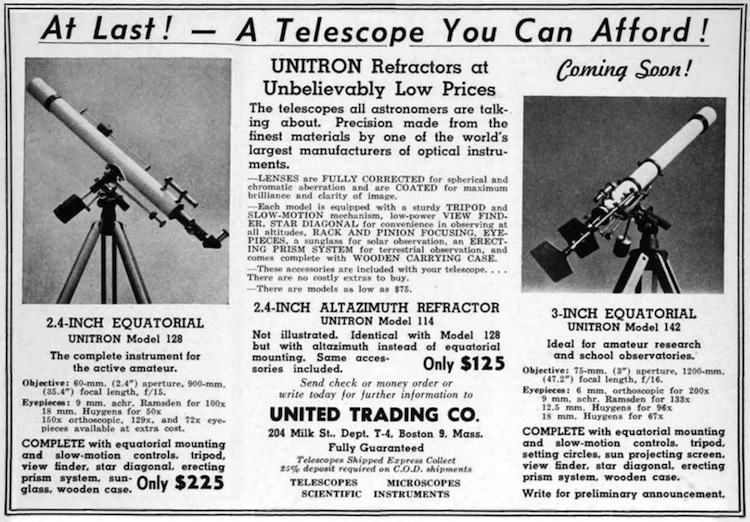 April 1952 announcement in <i>Sky and Telescope</i> Unitron introducing the Model 142 (191,602 bytes)