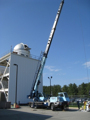 dome and telescope installation of MCCMO observatory (63,808 bytes)