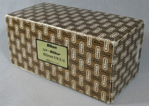 UV-Nikkor 1980s packing box with labels