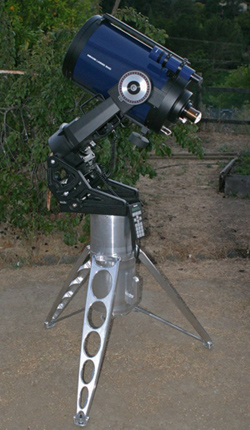 Particle Wave Tech. Monolith Tripod supporting Meade 14 inch LX-200 fork
