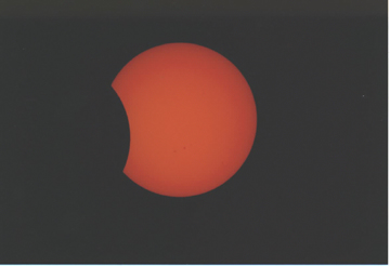 One of Bill Chandler's photographs of the eclipse - partial phase