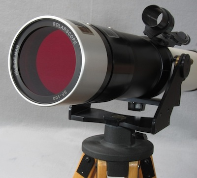 Solarscope DSF-100 stacked filters on TeleVue NP-101 telescope (63,268 bytes)
