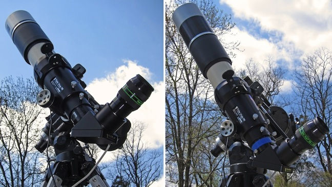 Solarscope DSF-70 stacked filters on TeleVue 76 telescope (109,731 bytes)