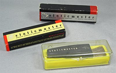 Three generations of early Staticmaster packaging, in Company Seven's collection (70,423 bytes)