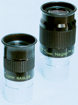 Original TeleVue 4.8mm Nagler (at left) next to 5mm Nagler Type 6 eyepiece. (87,208 bytes)