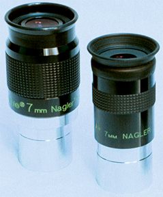 TeleVue 7mm Nagler Type 6 (at left) next to original 7mm Nagler eyepiece. (73,412 bytes)