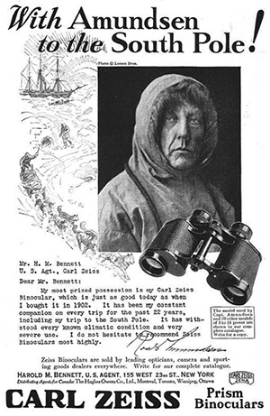 Amundsen testimonial advertisement for Carl Zeiss published in 1925