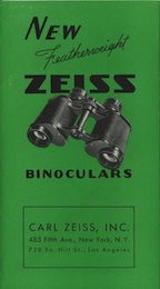 Carl Zeiss Jena Prism Binoculars pamphlet of 1937 cover